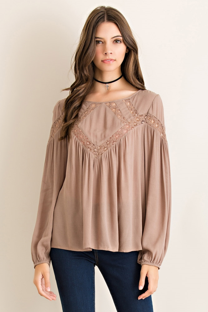 Solid Peasant Crochet Top - orangeshine.com