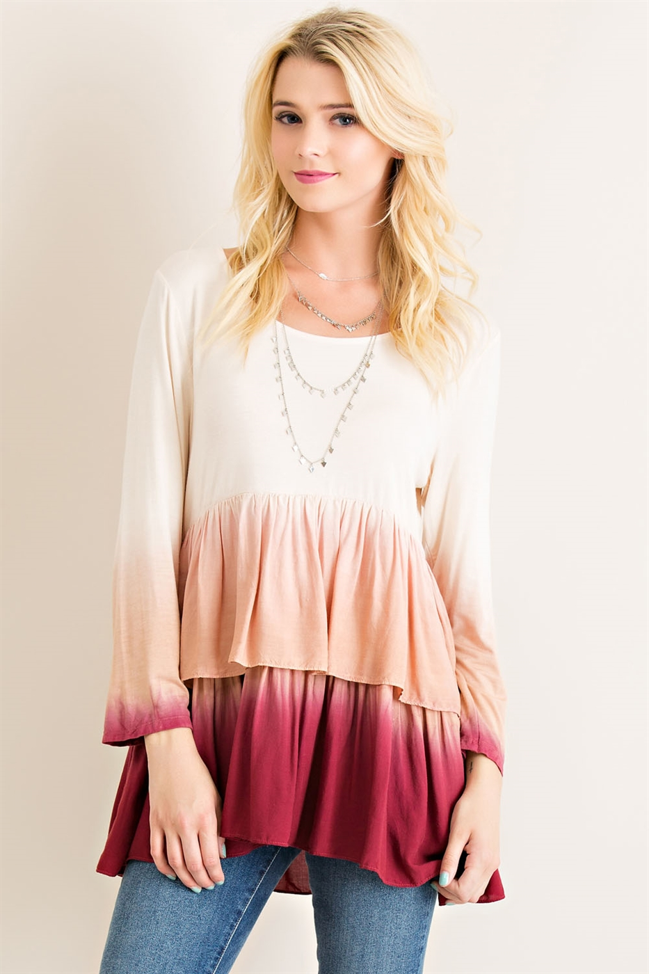Ombre Babydoll Tiered Top - orangeshine.com