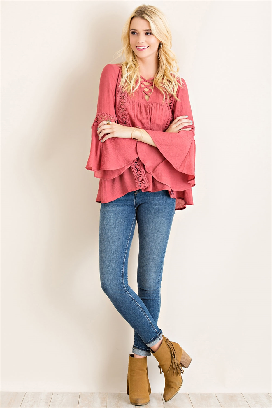 Solid Crinkle Peasant Top - orangeshine.com