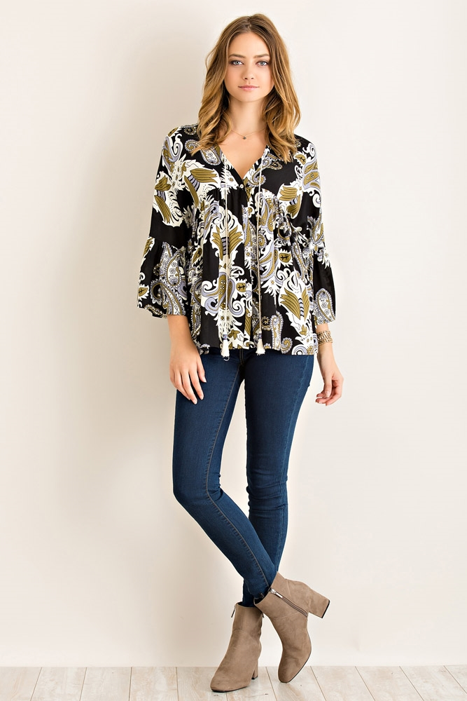 Floral Print Button Down Top - orangeshine.com