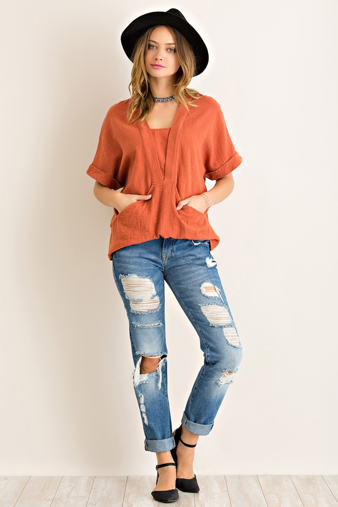 Solid Crinkle Top - orangeshine.com
