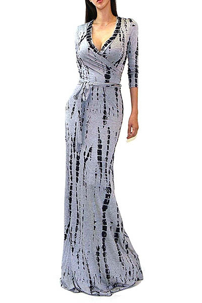 GREY TIE DYE LONG MAXI DRESS - orangeshine.com