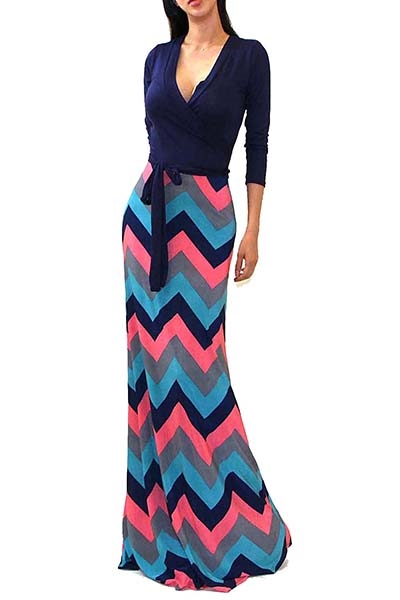 TWO TONE CHEVRON MAXI DRESS - orangeshine.com
