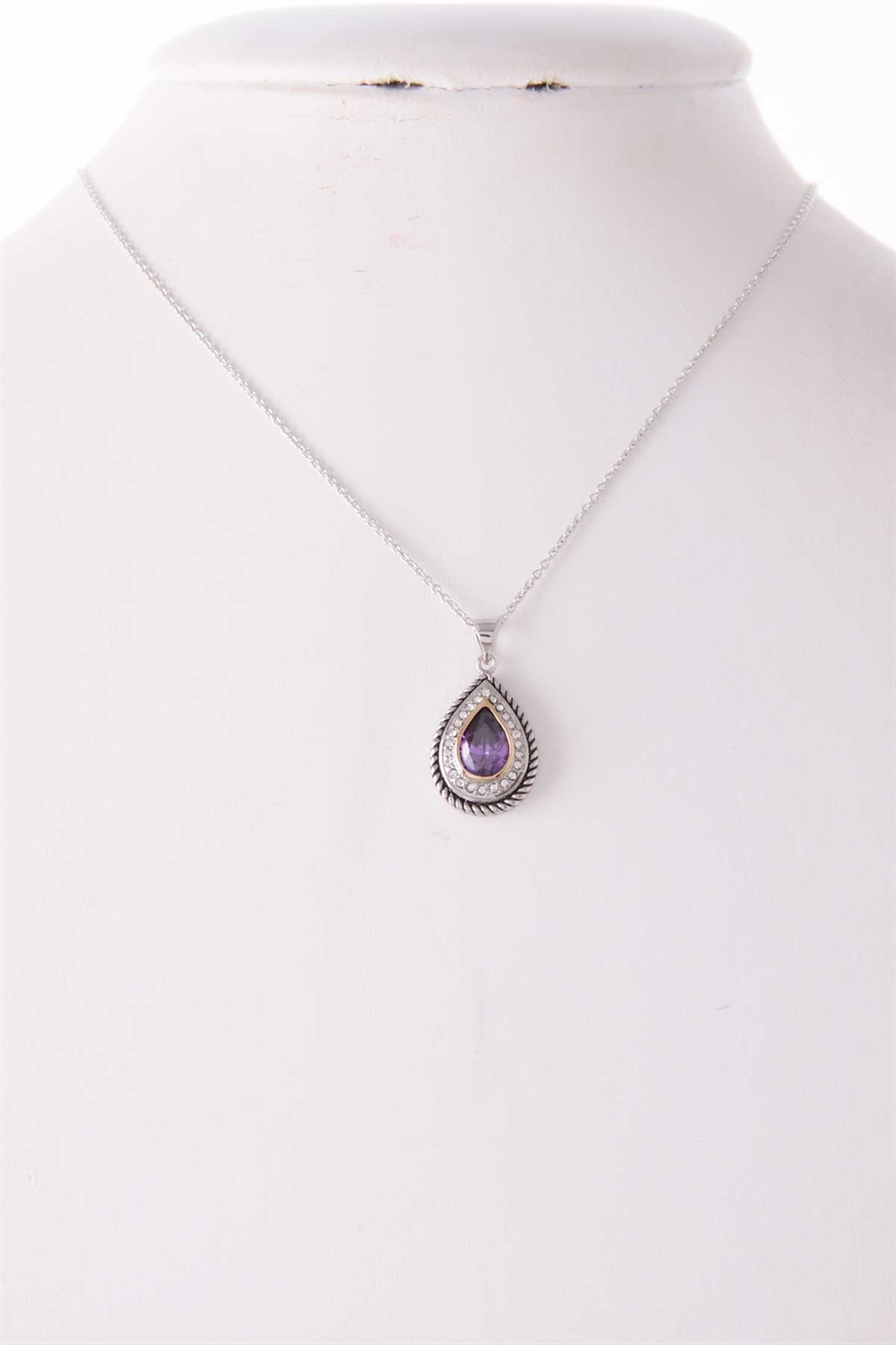 CZ PAVE TEARDROP NECKLACE - orangeshine.com
