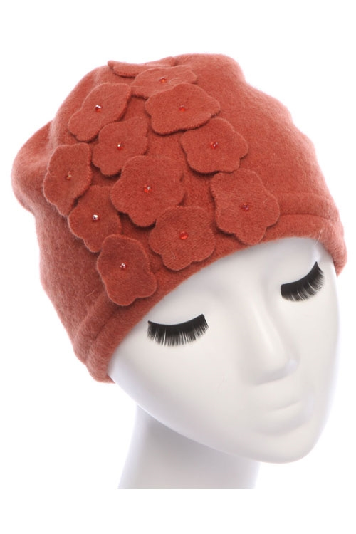 WOOL CUT FLORAL DETAIL HAT - orangeshine.com