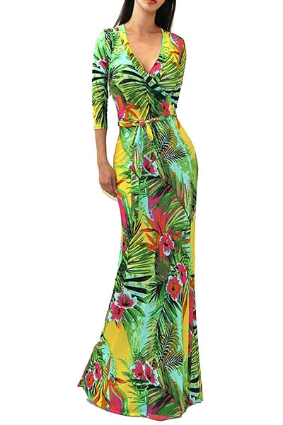 GREEN MULTI FLORAL MAXI DRESS - orangeshine.com