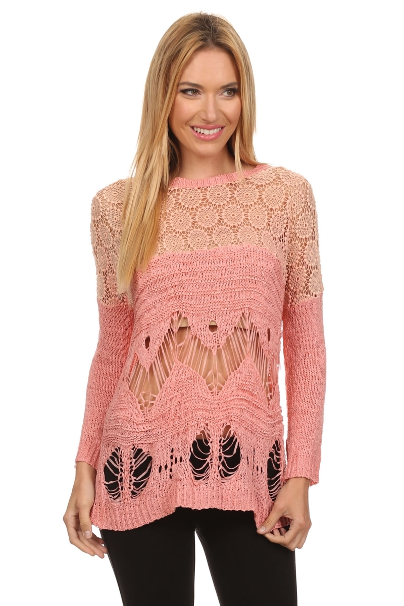 Kintted sweater with crochet  - orangeshine.com
