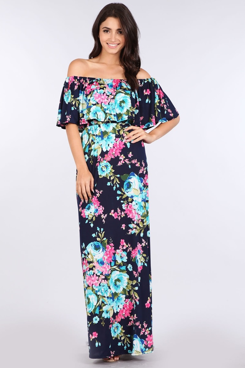 OFF SHOULDER MAXI DRESS - orangeshine.com