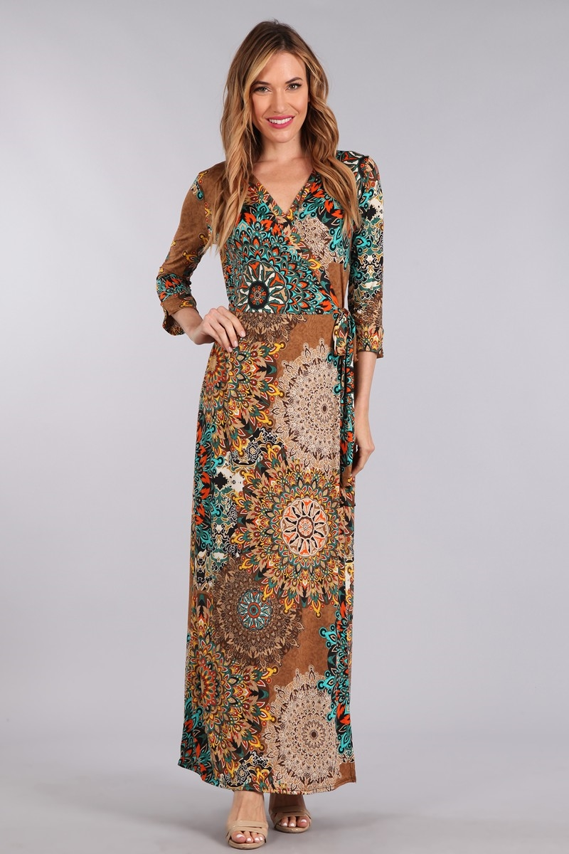 PRINTED MAXI WRAP DRESS - orangeshine.com