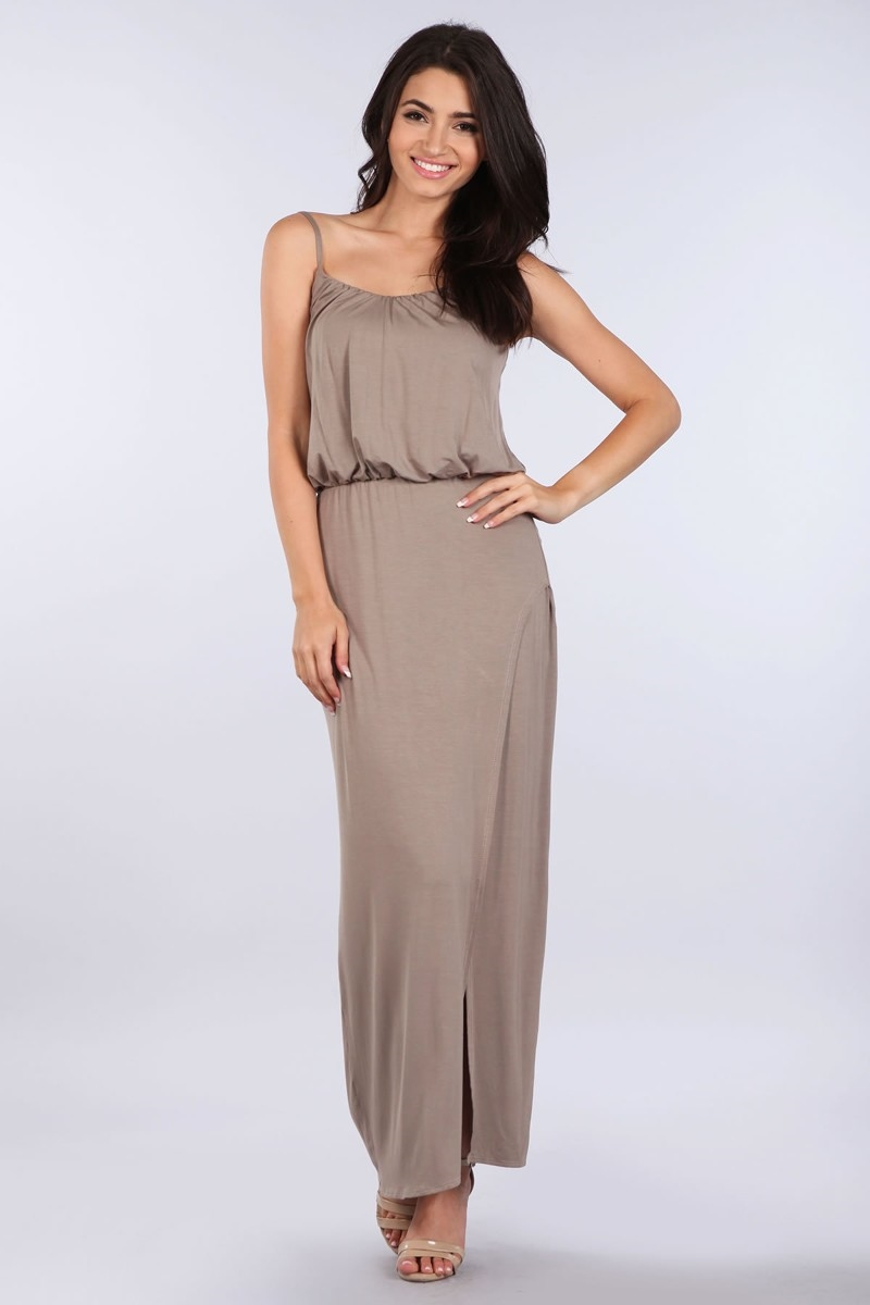 FRONT CURVE SLIT MAXI DRESS - orangeshine.com