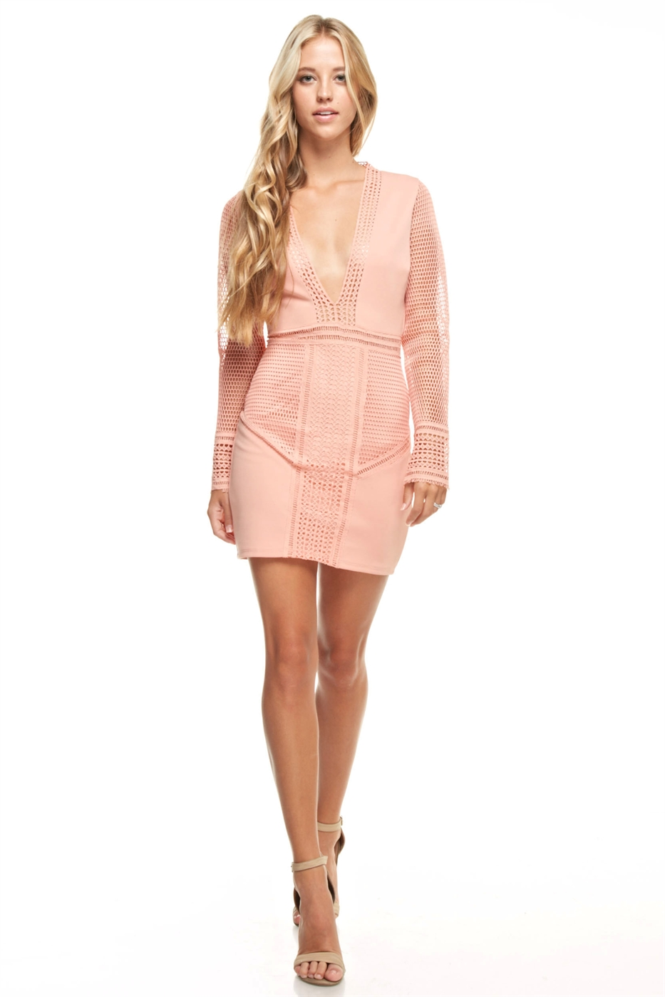 V-neck Mesh Mini Dress - orangeshine.com