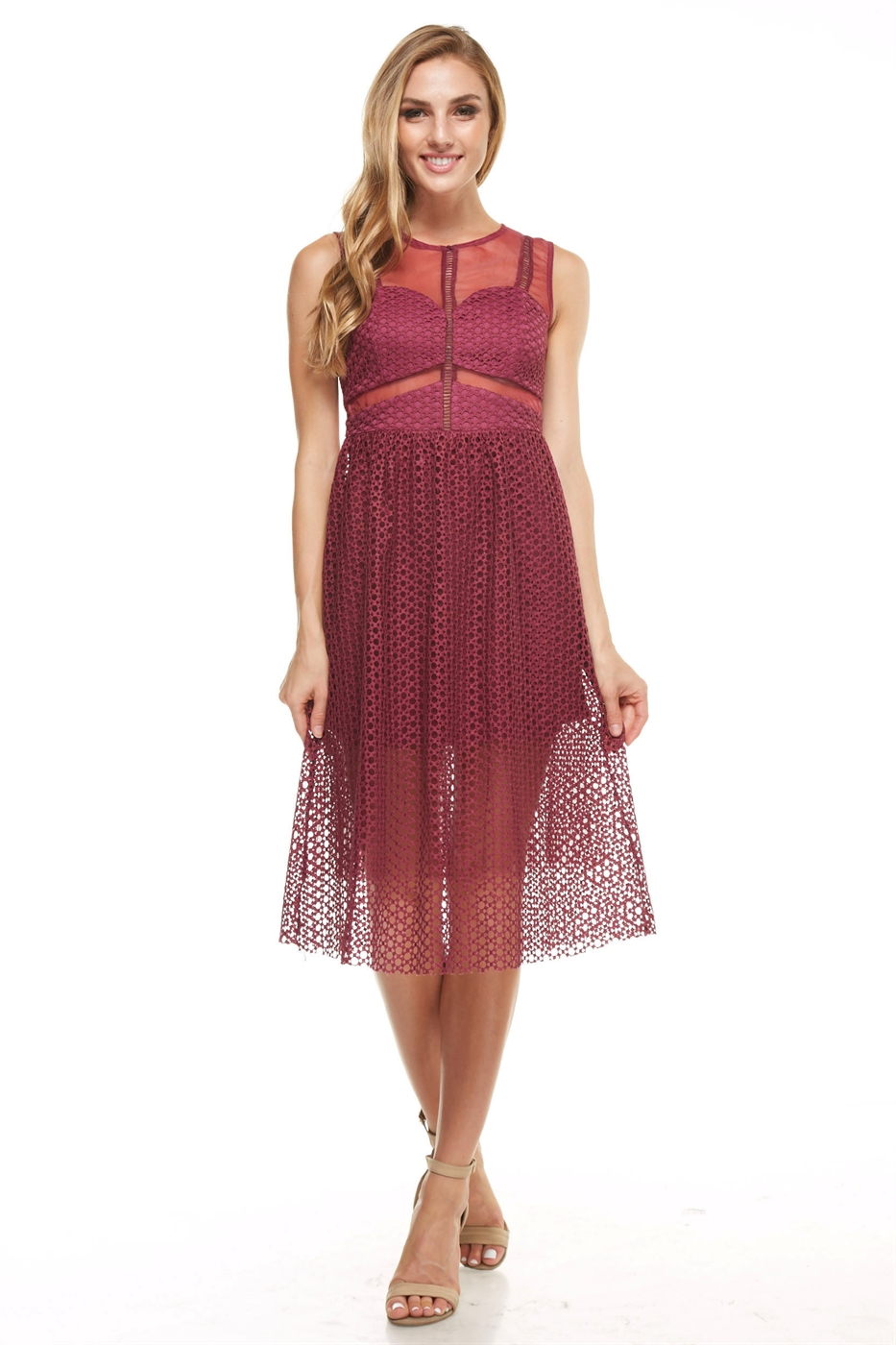 Mesh Midi Dress - orangeshine.com