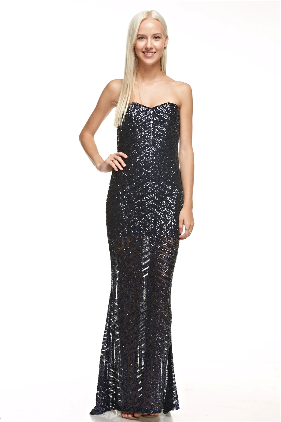 Strapless Sequins Maxi Dress - orangeshine.com