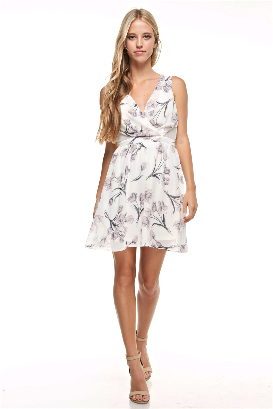 Floral Print Mini Dress - orangeshine.com