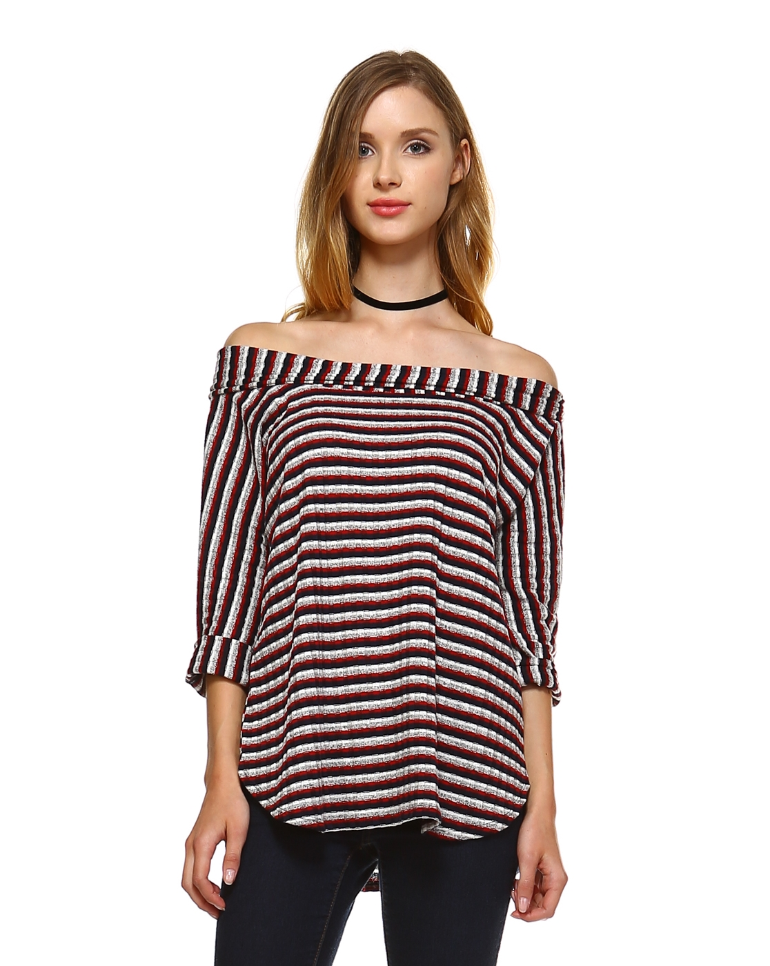 STRIPE OFF SHOULDER KNIT TOP - orangeshine.com