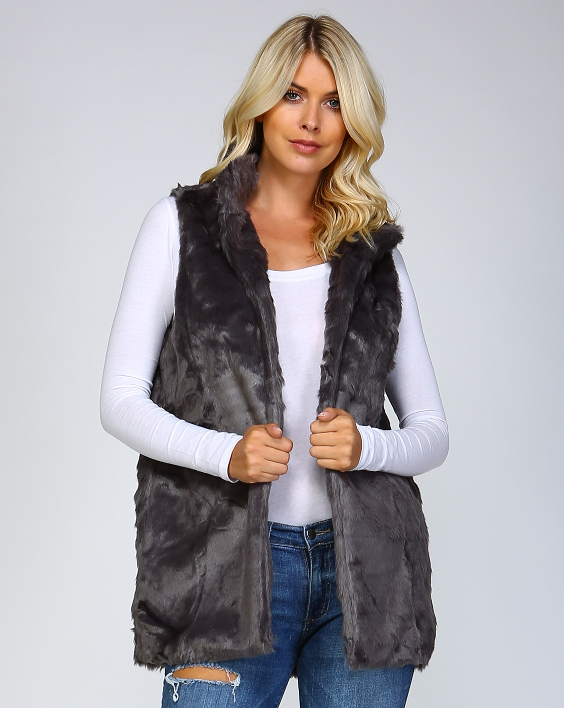 HIGH COLLARED LONG FUR VEST - orangeshine.com