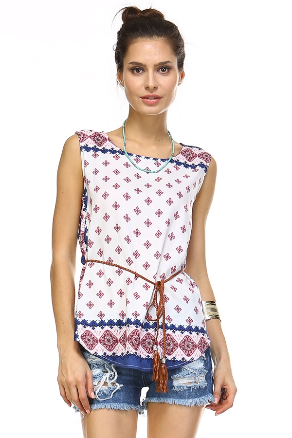 Boarder print sleeveless top - orangeshine.com