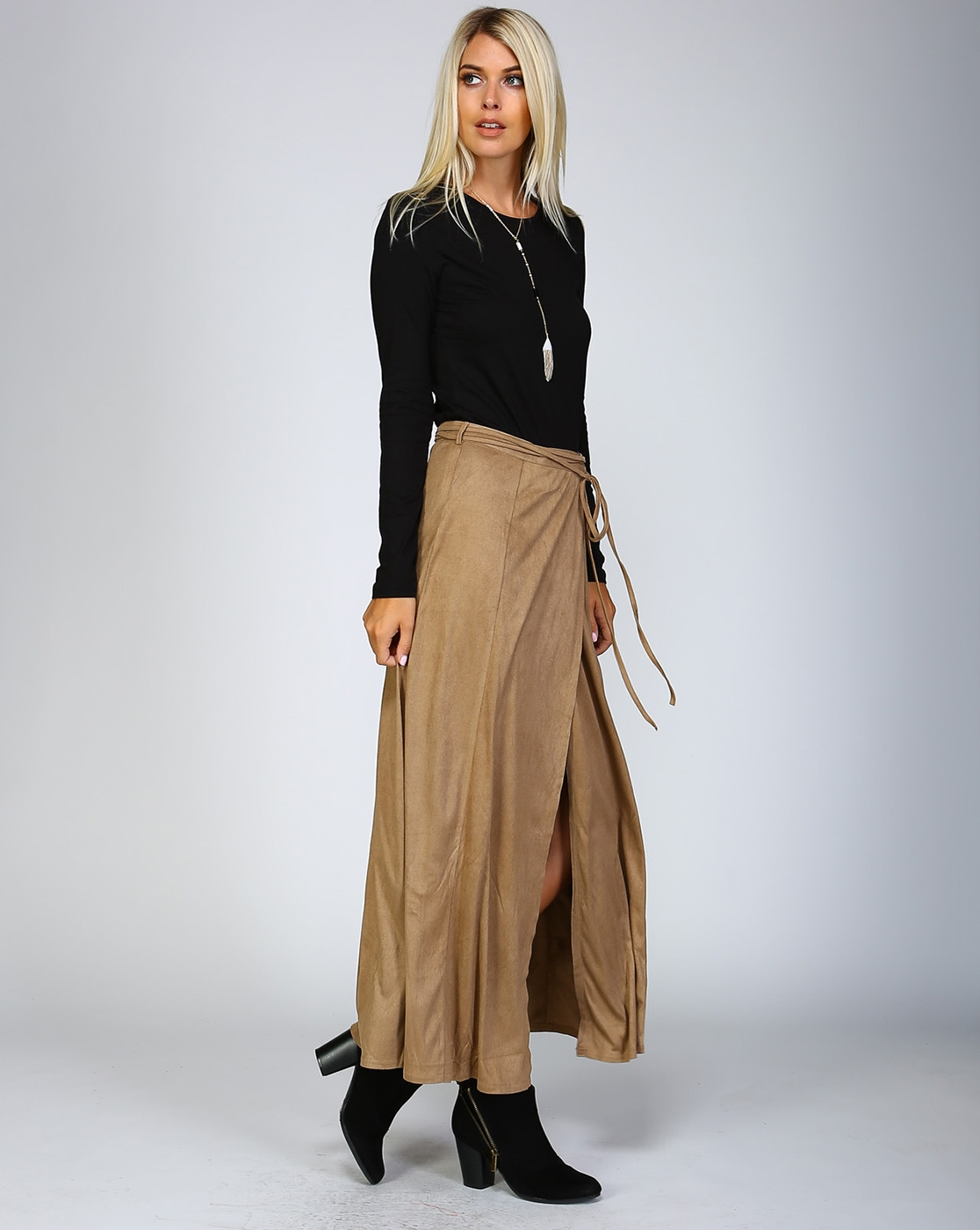 SUEDE SPLIT SKIRT - orangeshine.com