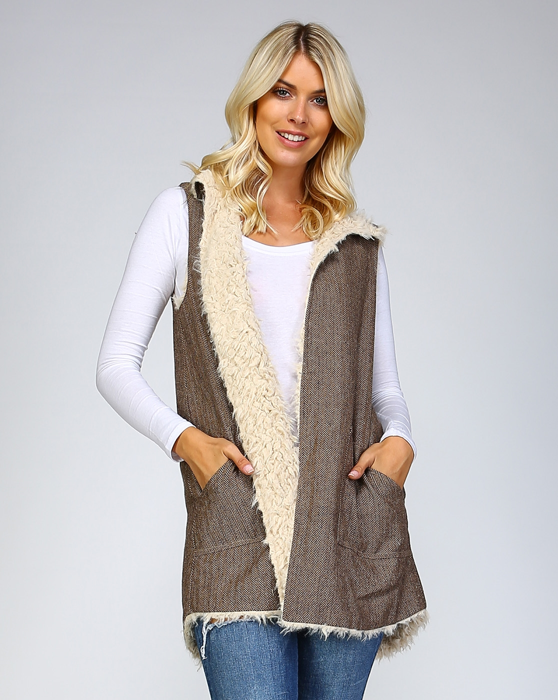 REVERSIBLE FUR WRAP VEST - orangeshine.com