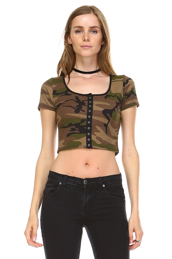 Camo print cropped top - orangeshine.com