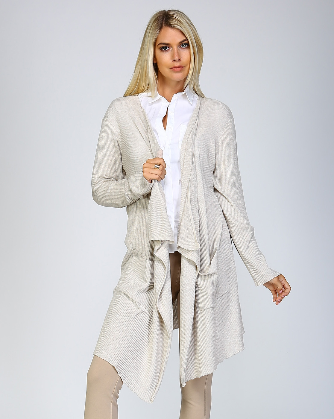 LIGHT RIBBED KNIT CARDIGAN - orangeshine.com