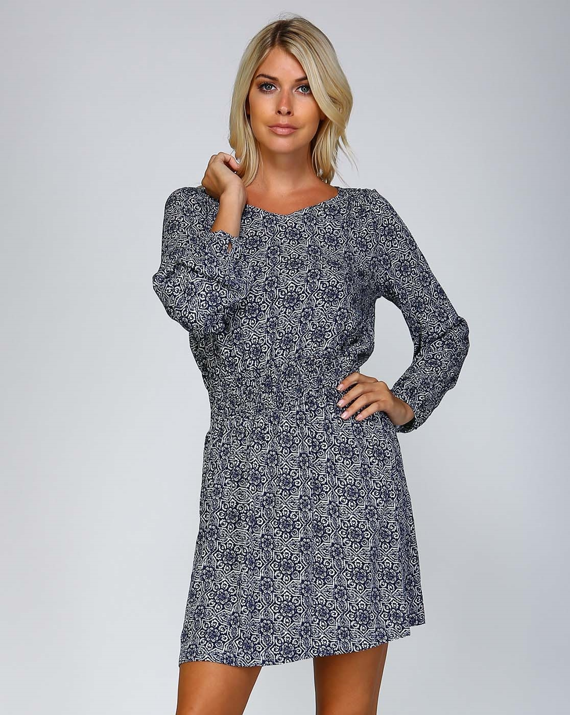 PRINTED SHIRRED TUNIC DRESS - orangeshine.com