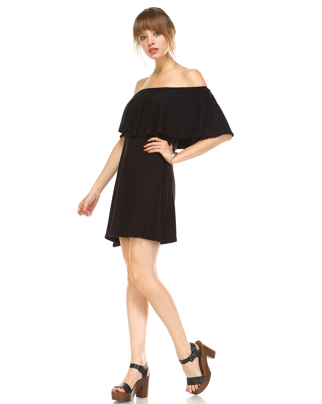 DOUBLELAYER OFF SHOULDER DRESS - orangeshine.com