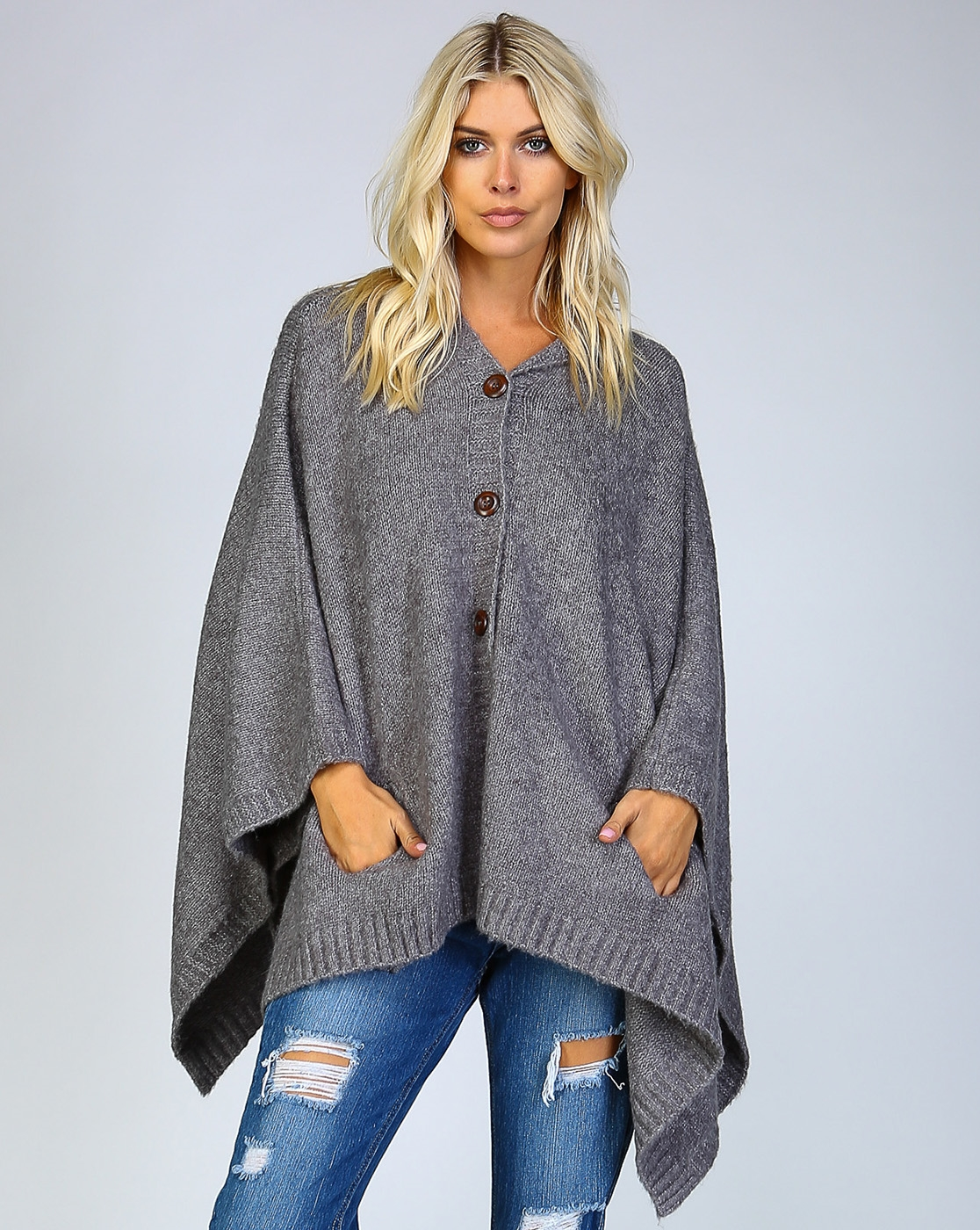 KNIT BUTTON DOWN HOODIE PONCHO - orangeshine.com