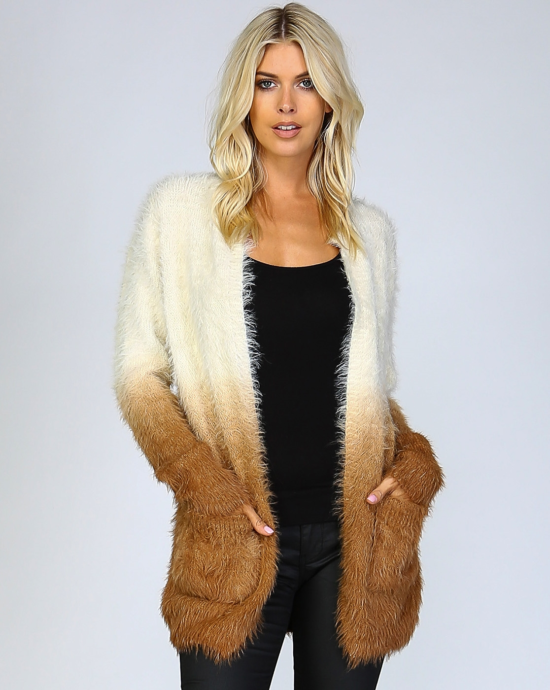 OMBRE SHAGGY FUR OPEN CARDIGAN - orangeshine.com