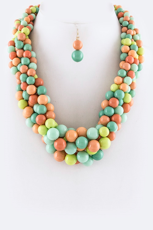Mix Beads Braid Necklace Set - orangeshine.com