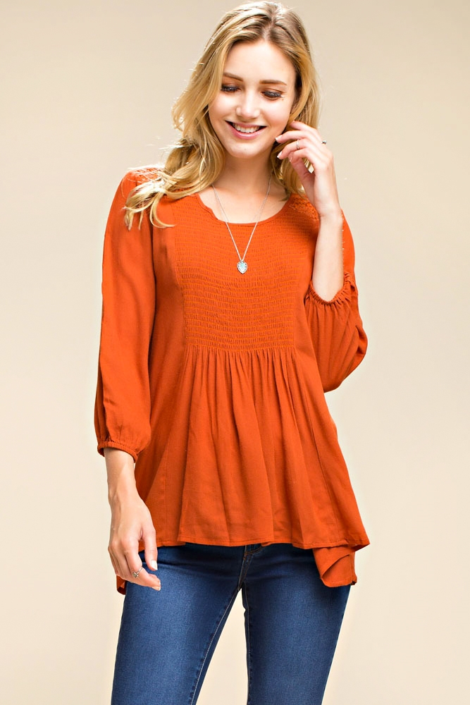3/4 SLEEVE TOP W/ SMOCK DETAIL - orangeshine.com