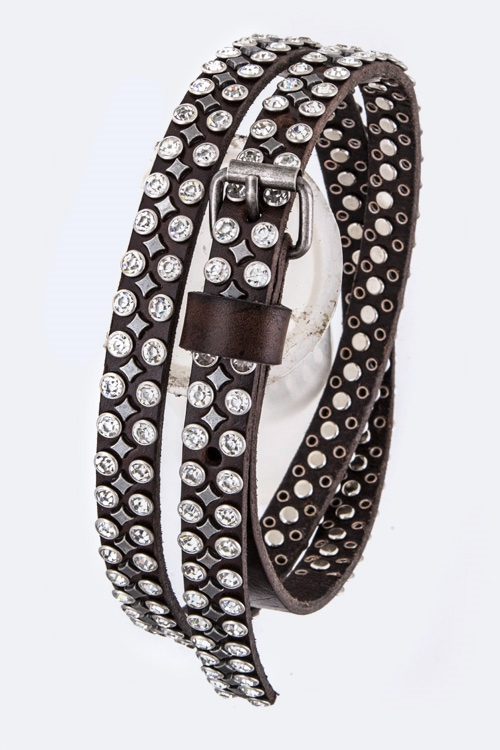 Mix Studs Distress Skinny Belt - orangeshine.com
