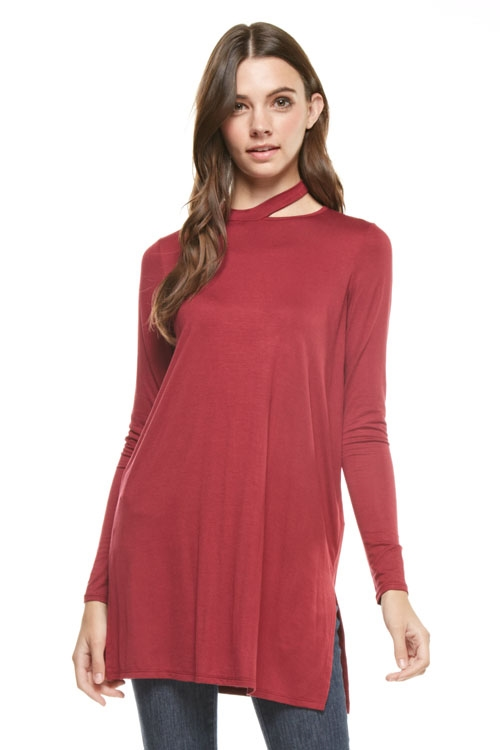 mock cut-out neck tunic top - orangeshine.com