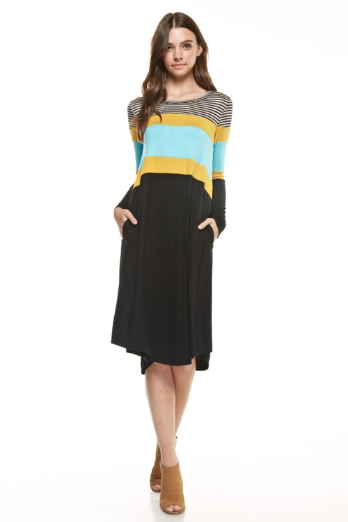 colorblock stripe midi dress - orangeshine.com