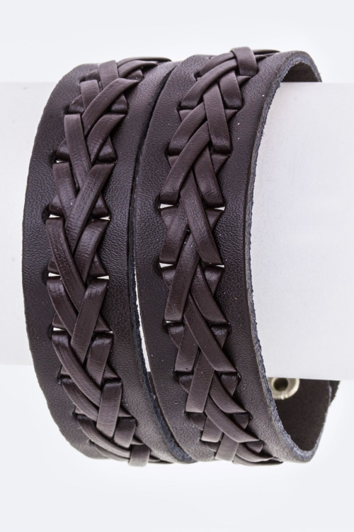 Laced Slit Leather Cuff - orangeshine.com