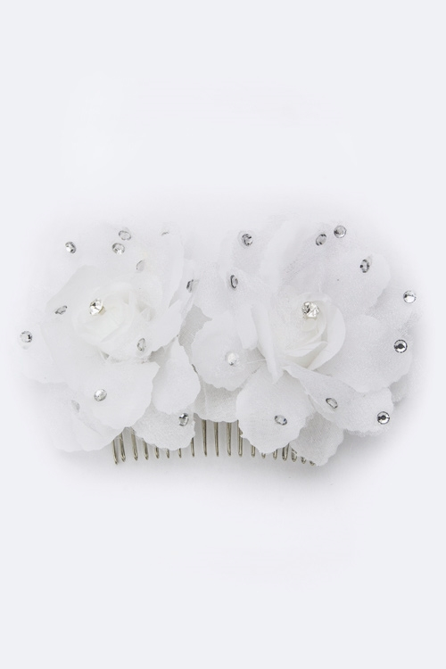 Crystal Flowers Bridal Comb - orangeshine.com
