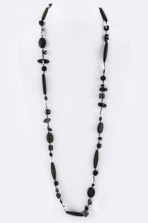 Mix Wooden Beads Long Necklace - orangeshine.com