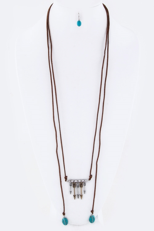 Metal Arrows Pebble Necklace - orangeshine.com