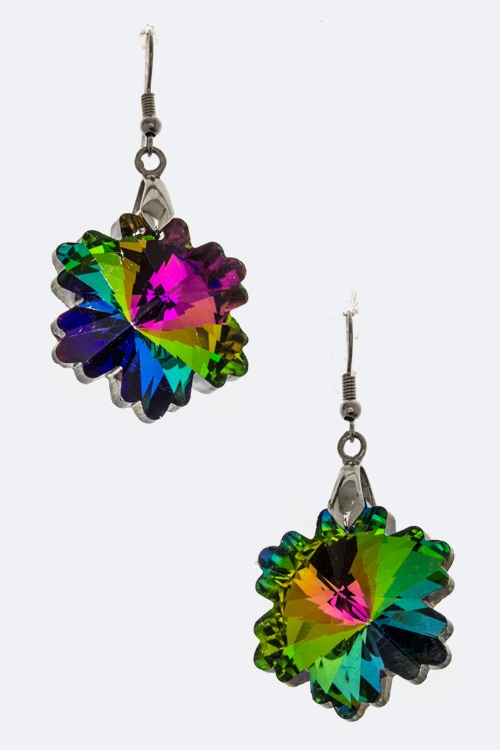 Leaf Crystal Earrings - orangeshine.com