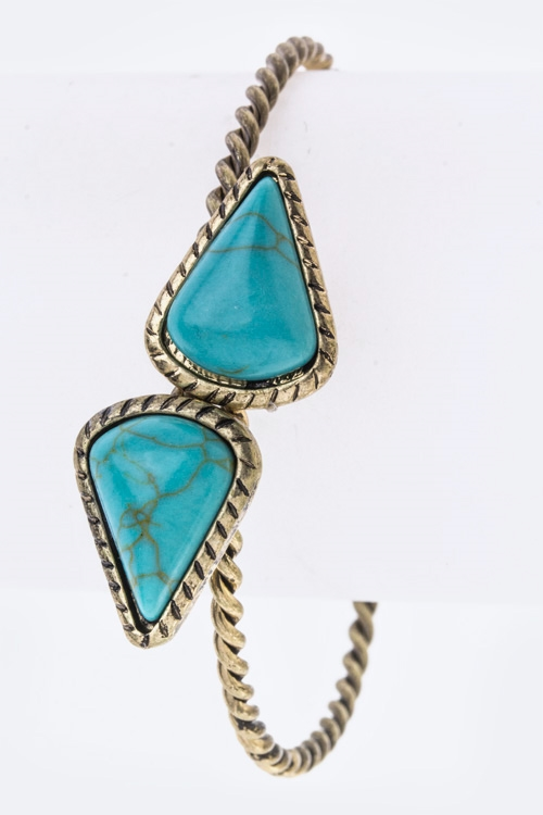 Turquoise Tipped Open Bangle - orangeshine.com