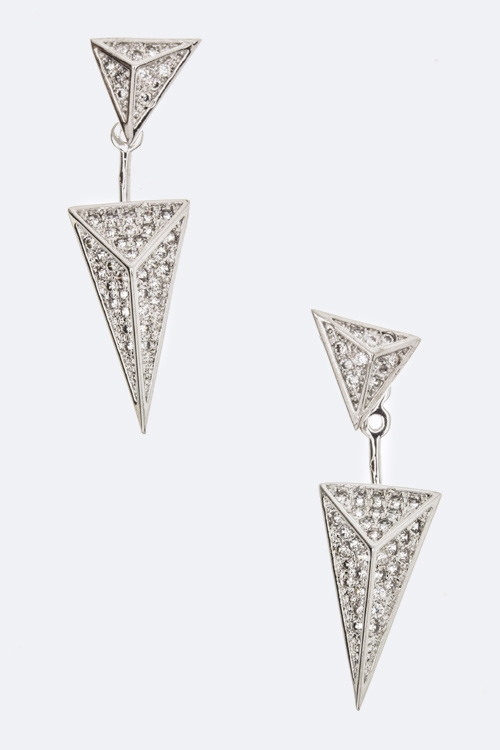 CZ Dangling Pyramid Earrings - orangeshine.com