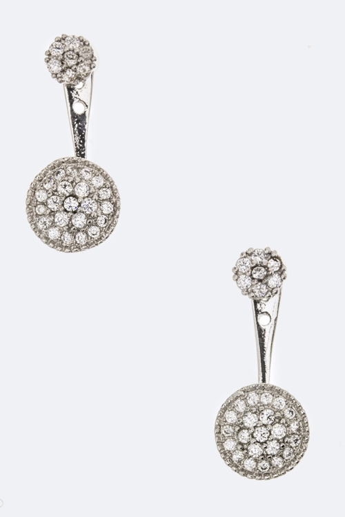 CZ Dangling Disk Earrings - orangeshine.com