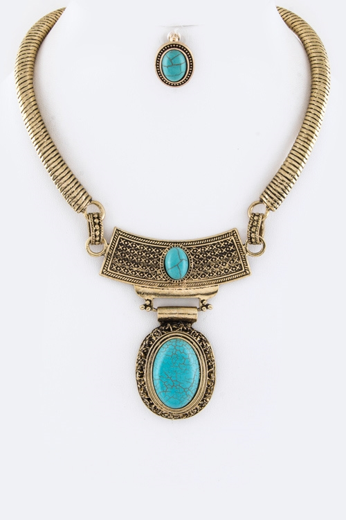 Oval Stones Collar Necklace - orangeshine.com