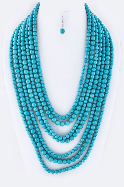 Semi Precious Beads Necklace - orangeshine.com