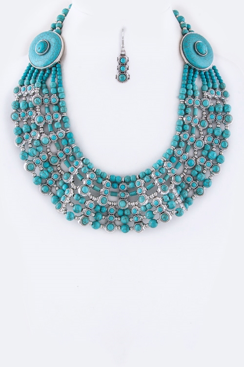 Stone Beads Tribal Necklace - orangeshine.com