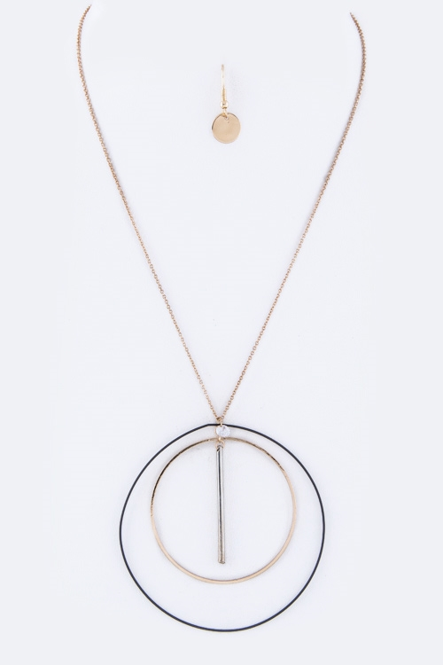 3 Tone Hoops and Bar Necklace - orangeshine.com