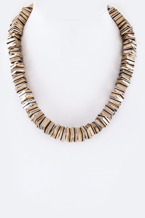 2 Tone Metal Plates Necklace - orangeshine.com