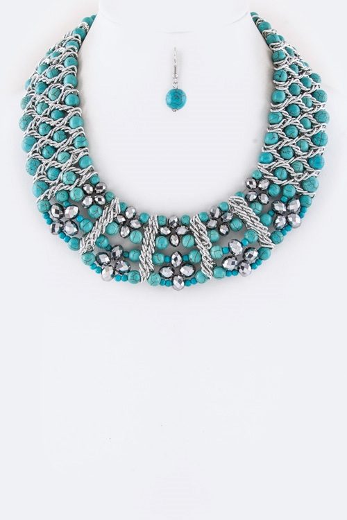 Layered Beads Collar Necklace  - orangeshine.com