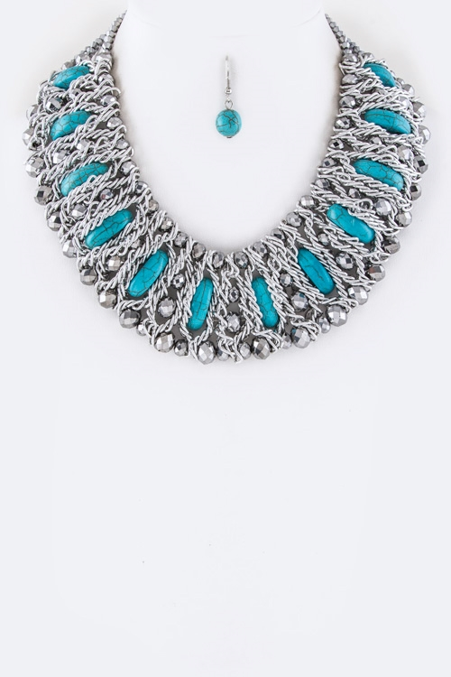 Mix Beads Collar Necklace Set - orangeshine.com