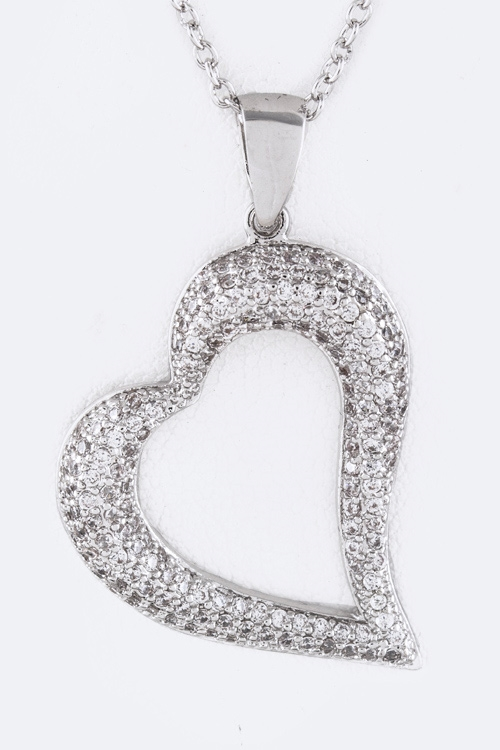 CZ Open Heart Pendant Necklace - orangeshine.com